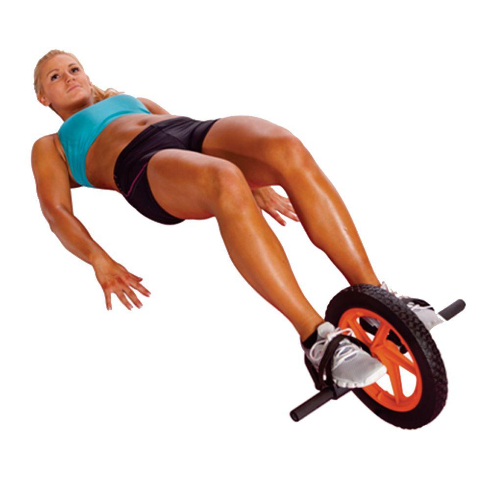 Roda De Exercicios Body Sculpture Power Com Pedais Preto/Laranja