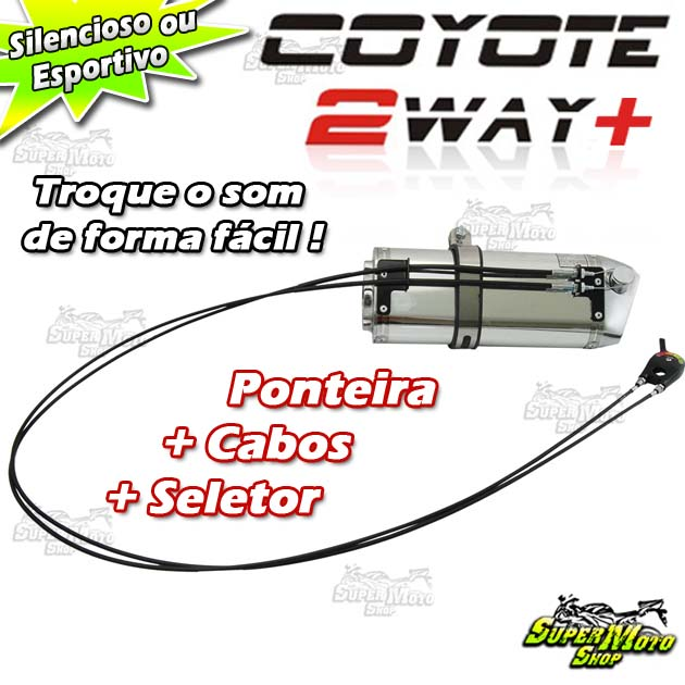 Escape / Ponteira Coyote TRS 2 Way + Mais Alumínio - CB 500 F / R / X 2014 / 2016 - Preto - Honda