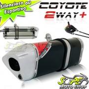 Escape / Ponteira Coyote TRS 2 Way + Mais Alumínio Ninja 250 R - Preto - Kawasaki