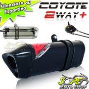 Escape / Ponteira Coyote TRS 2 Way + Mais Alumínio Falcon NX 400 até 2005 - Preto Black - Honda