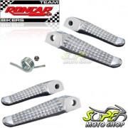 Pedaleiras Dianteiras e Traseiras (4 unidades) Racing em Alumínio Polido CBX Twister 250 - Honda - Super Moto Shop