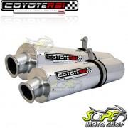 Escape / Ponteira Coyote RS3 Alumínio PAR Oval XT 660 R - Polido - Yamaha - Super Moto Shop