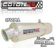 Escape / Ponteira Coyote RS2 Aço inox Oval (Par) - CBX 750 Ano 1987 até 1994 - Super Moto Shop