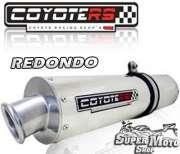 Escape / Ponteira Coyote RS2 Aço inox Redondo - Bandit N/S 650 (carburada) Até ano 2008 - Super Moto Shop