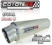 Escape / Ponteira Coyote RS5 Aço Inox Oval boca em 8 - YBR 125 - Super Moto Shop