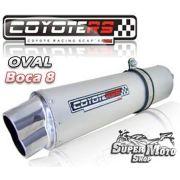 Escape / Ponteira Coyote RS5 Aço Inox Oval boca em 8 - CBR 600 Ano 2001 em diante - Honda - Super Moto Shop