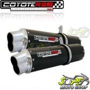 Escape / Ponteira Coyote RS5 Boca 8 Aluminio PAR Oval TDM 900 - Preto - Yamaha - Super Moto Shop