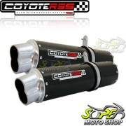 Escape / Ponteira Coyote RS5 Boca 8 Aluminio PAR Oval DR 800 - Preto - Suzuki - Super Moto Shop