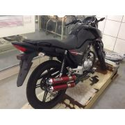 Escape / Ponteira Coyote Competition Duplo em Alumínio Vermelho - CG 125 150 160 / Titan Fan Start - Honda - Super Moto Shop