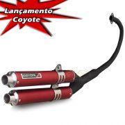 Escape / Ponteira Coyote Competition Duplo em Alumínio Vermelho - YBR / Factor 125 - Yamaha - Super Moto Shop