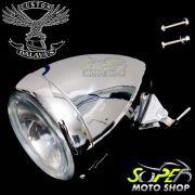 Kit Farol Principal Bullet + Jogo do Farol Auxiliar Corneta Dalavas - Universal - Super Moto Shop