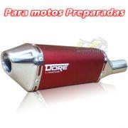 Escape / Ponteira Alumínio Dore + Curva em Inox - CG 125 / 150 / 160 Titan / Fan / Start - Para motos Preparadas - Super Moto Shop