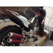 Escape / Ponteira Coyote Competition Duplo em Alumínio Vermelho - GSR 150 i - Suzuki - Super Moto Shop