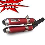Escape / Ponteira Coyote Competition Duplo em Alumínio Vermelho - XRE 300 - Honda - Super Moto Shop