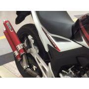 Escape / Ponteira Coyote Competition Duplo em Alumínio Vermelho - Biz 100 / 125 - Honda - Super Moto Shop