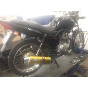 Escape / Ponteira Coyote RS5 Boca 8 Aluminio Oval - CG 125 150 160 / Titan Fan Start - Dourado - Honda - Super Moto Shop