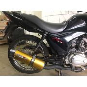 Escape / Ponteira Coyote RS5 Boca 8 Aluminio Oval - Twister 250 até 2008 - Dourado - Honda - Super Moto Shop