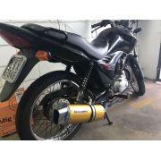 Escape / Ponteira Coyote RS5 Boca 8 Aluminio Oval - GSR 150 i - Dourado - Suzuki - Super Moto Shop