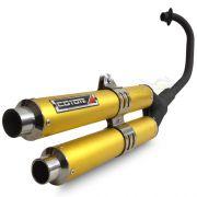 Escape / Ponteira Coyote Competition Duplo em Alumínio Dourado - Strada CBX 200 - Honda - Super Moto Shop
