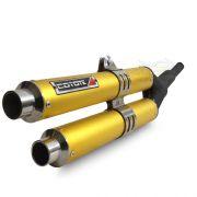 Escape / Ponteira Coyote Competition Duplo em Alumínio Dourado - XRE 300 - Honda - Super Moto Shop