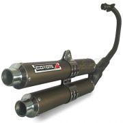 Escape / Ponteira Coyote Competition Duplo em Alumínio Bronze - Twister 250 até 2008 - Honda - Super Moto Shop