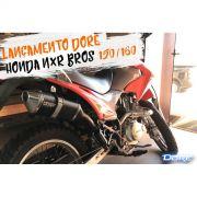 Escape / Ponteira Alumínio Dore + Curva em Inox - Bros 150 & Bros 160 - Preto - Honda - Super Moto Shop