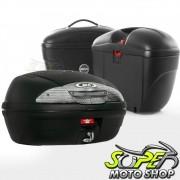 Kit Baú / Bauleto Lateral Side Case GIVI Modelo E-21 (Par) + Top Case Givi E450 + Suportes Scam - XT 660 R - Yamaha - Super Moto Shop