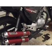 Escape / Ponteira Coyote Competition Duplo em Alumínio Vermelho - Bros NX-R 125/150 & 160 - Honda - Super Moto Shop