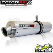 Escape / Ponteira Coyote RS1 Aluminio Redondo XTZ Lander 250 - Polido - Yamaha - Super Moto Shop