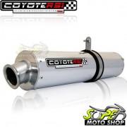 Escape / Ponteira Coyote RS1 Aluminio Redondo YBR Factor 125 2009 até 2016 - Polido - Yamaha - Super Moto Shop