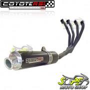 Escape / Ponteira Coyote RS1 Aluminio Redondo 4X1 - CBX 750 1987 até 1994 - Preto - Honda - Super Moto Shop