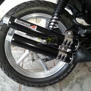 Escape / Ponteira Coyote Competition Alumínio Duplo CG 125 Fan até 2008 - Preto - Honda - Super Moto Shop