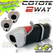 Escape / Ponteira Coyote TRS 2 WAY Alumínio NX-R Bros 150 2009 em Diante - Preto - Honda