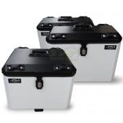 Kit Baú / Bauleto Alumínio Traseiro Top Case + Lateral Side Case + Suporte Para Baú de Alumínio Livi