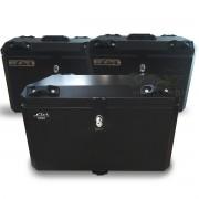 Kit Baú / Bauleto Alumínio Traseiro Top Case + Lateral Side Case + Suporte Para Baú de Alumínio Livi - V-Strom DL 1000 ano 2014 em Diante - Suzuki - Super Moto Shop