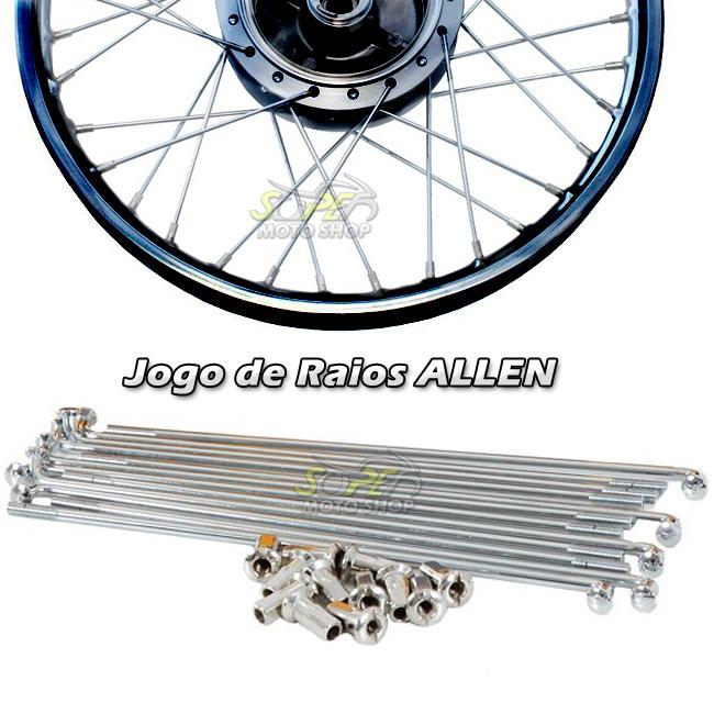 Jogo de Raio Dianteiro ou Traseiro Modelo Allen Cromado - CG 125 / 150 Titan / Fan 1996 até 2015 a Tambor - Honda