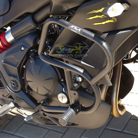 Protetor de Motor / Carenagem Lateral Modelo Livi Preto Fosco com Pedaleiras - Versys 650 ano 2016 em Diante - Kawasaki