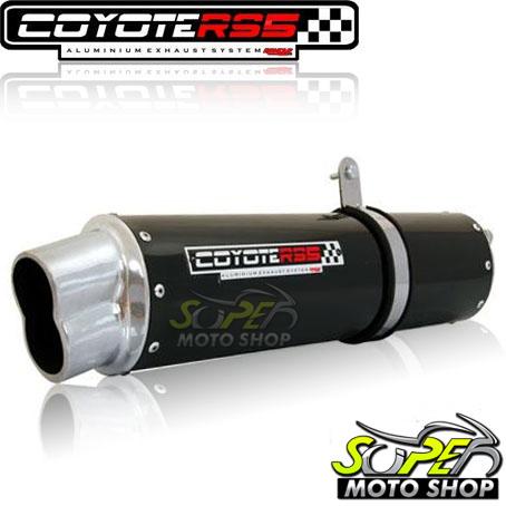 Escape / Ponteira Coyote RS5 Boca 8 Aluminio Oval Laser 150 - Preto - Dafra