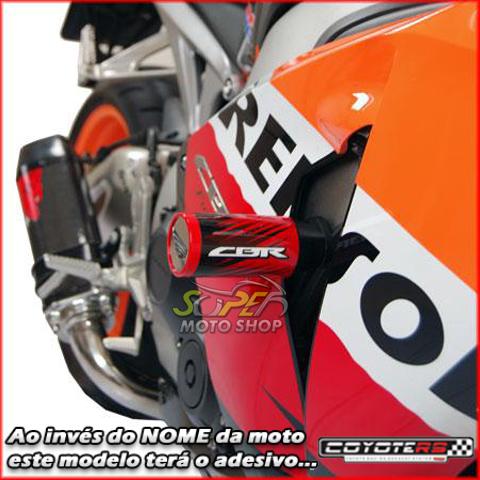 Slider Dianteiro Coyote (PAR) CBR 1000 RR 2008 até 2010 - Honda - Prata & Preto c/ Anel Polido