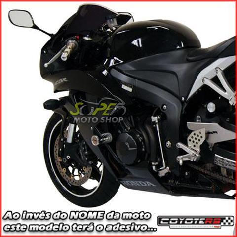 Slider Dianteiro Coyote (PAR) CBR 600 RR 2008 até 2009 - Honda - Prata & Preto c/ Anel Polido