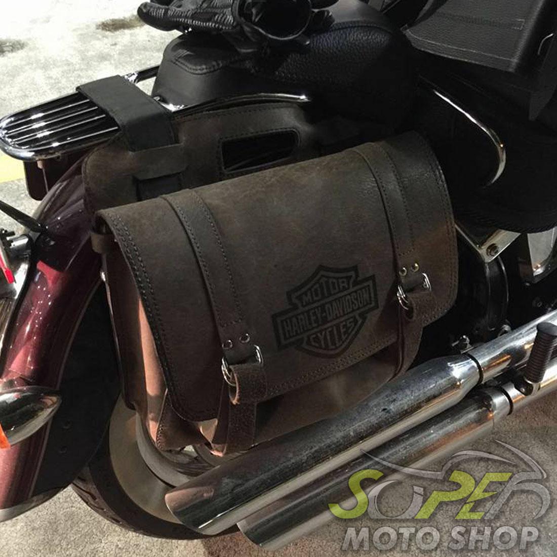 Alforges / Bolsas Laterais (PAR) Rider's Classic em Couro Modelo Grande com Gravação ( Malas Laterais de Garupa )- Universal