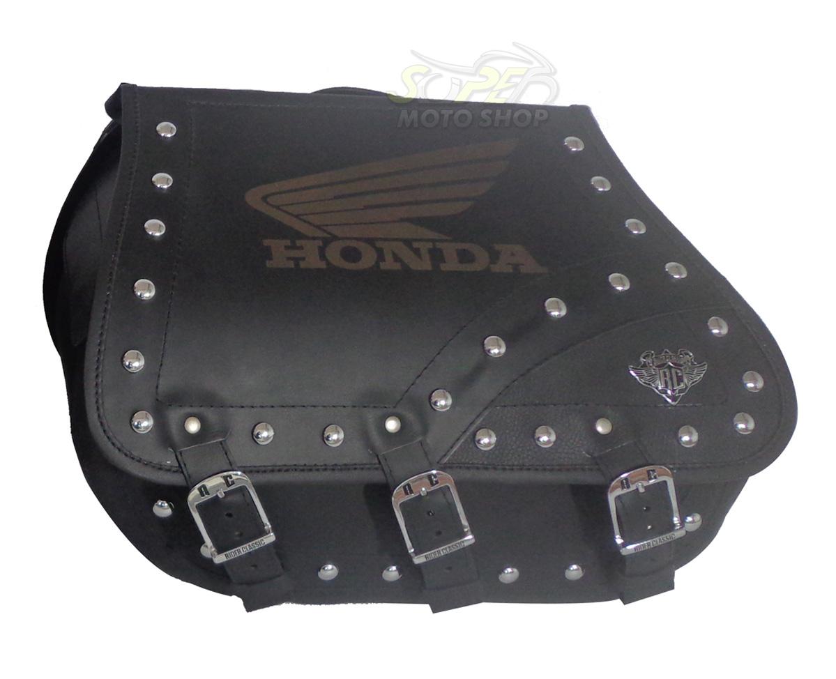 Alforges / Bolsas Laterais (PAR) Rider's Classic em Couro Modelo Grande com Gravação - Universal