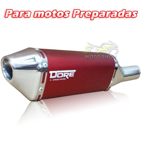 Escape / Ponteira Alumínio Dore + Curva em Inox - CG 125 / 150 / 160 Titan / Fan / Start - Para motos Preparadas
