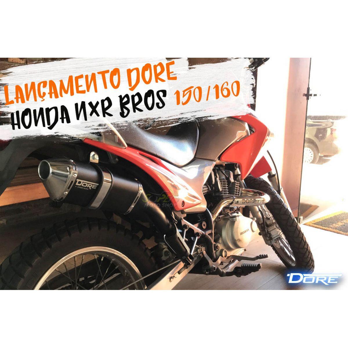 Escape / Ponteira Alumínio Dore + Curva em Inox - Bros 150 & Bros 160 - Preto - Honda