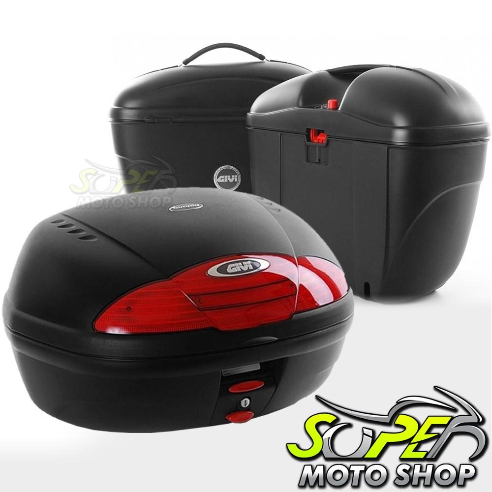 Kit Baú / Bauleto Lateral Side Case GIVI Modelo E-21 (Par) + Top Case Givi E450 + Suportes Scam - XT 660 R - Yamaha