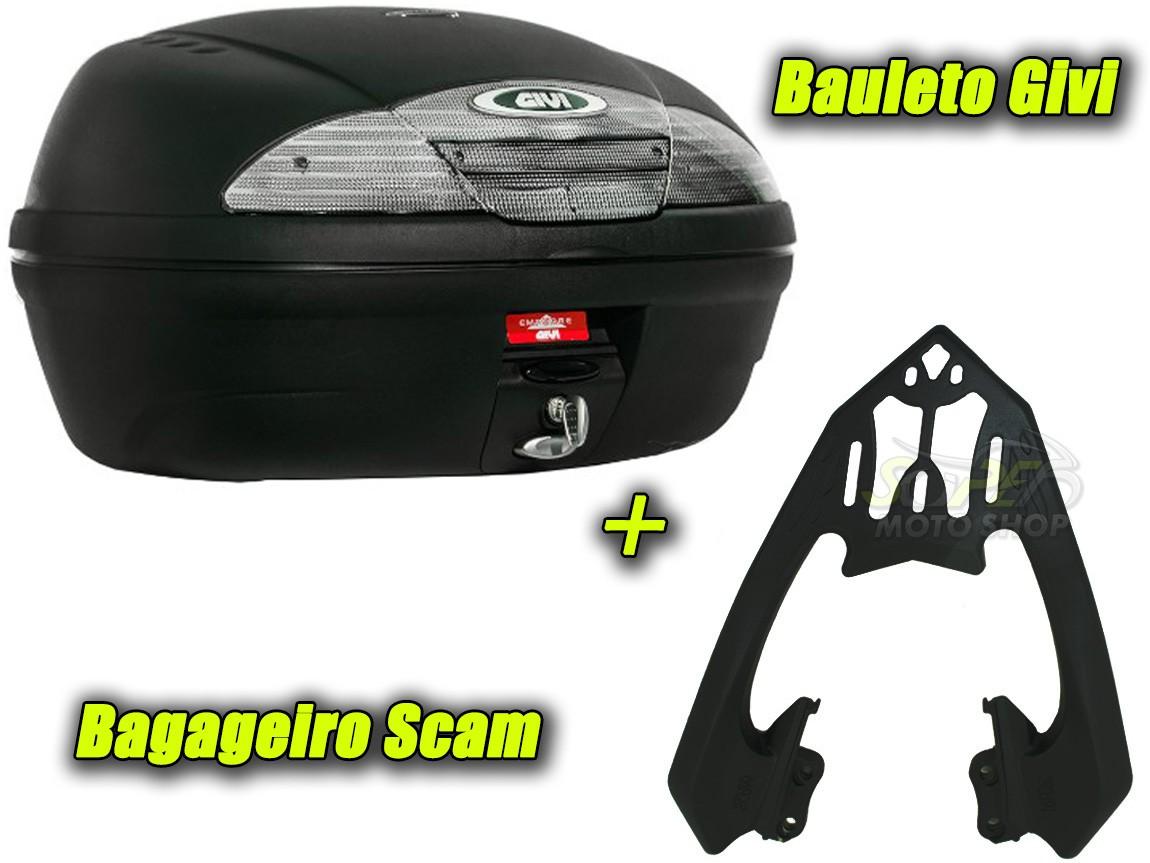 Kit Bauleto / Bau Traseiro Givi 45 Litros + Bagageiro Scam - Twister CB 250 2016 em Diante - Honda