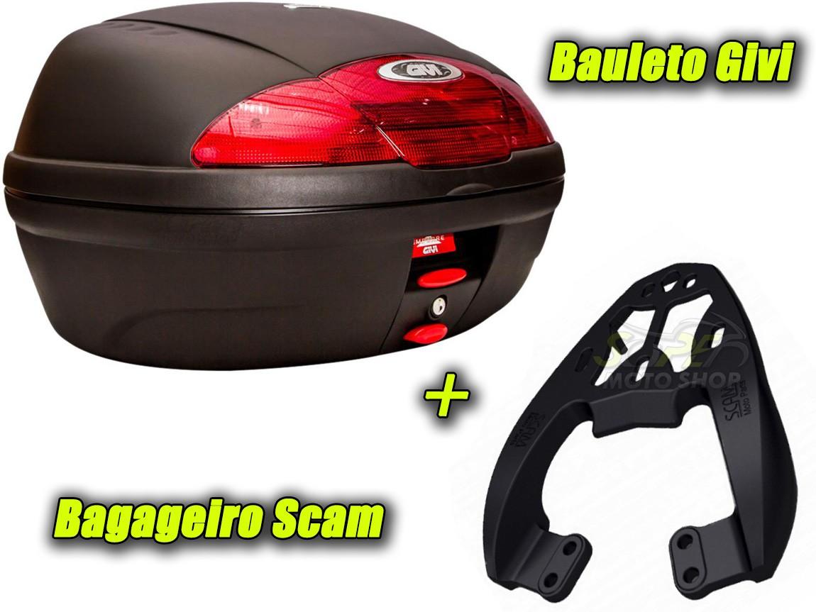 Kit Bauleto / Bau Traseiro Givi 45 Litros + Bagageiro Scam - Next 250 R - Dafra