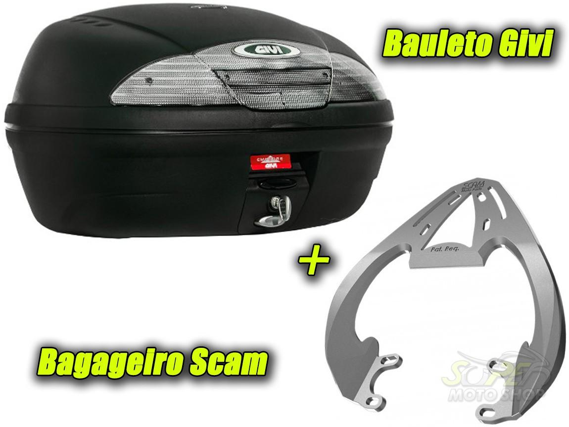 Kit Bauleto / Bau Traseiro Givi 45 Litros + Bagageiro Scam - Fazer 250 Até 2017 - Yamaha