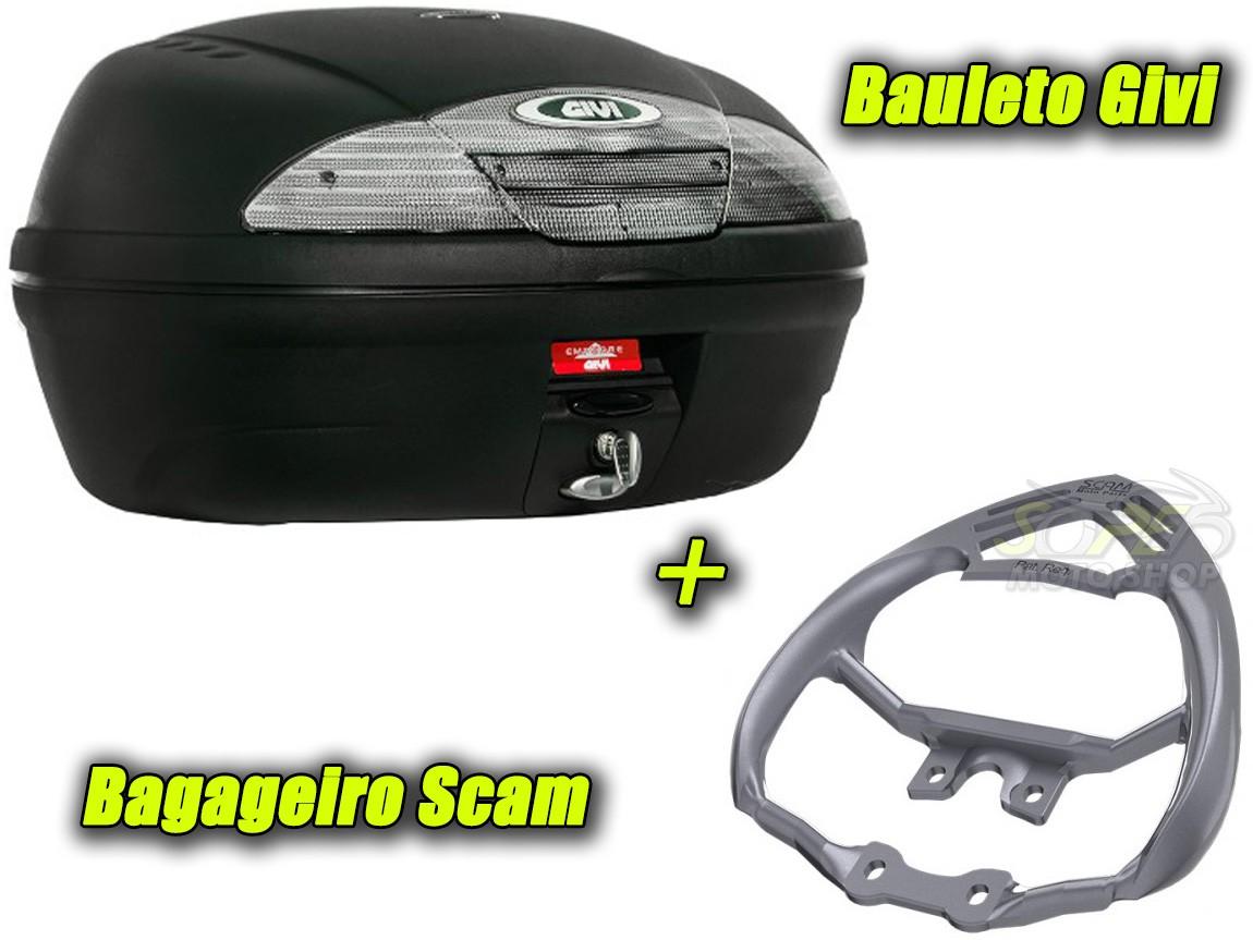 Kit Bauleto / Bau Traseiro Givi 45 Litros + Bagageiro Scam - CG 125 / 150 Titan / Fan ano 2009 até 2013 - Honda