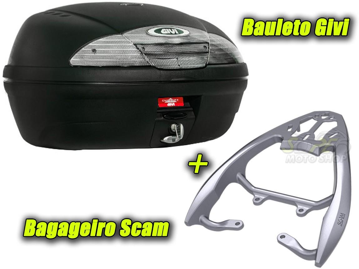 Kit Bauleto / Bau Traseiro Givi 45 Litros + Bagageiro Scam - CG 125 / 150 Titan / Fan ano 2014/2015 - Honda